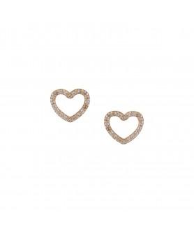 Χρυσά παιδικά σκουλαρίκια 14κ. καρδιά με ζιργκόν. ΣΚ17.