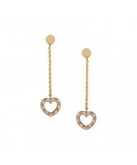 Χρυσά σκουλαρίκια 14κ. καρδιά με ζιργκόν. ΣΚ2.