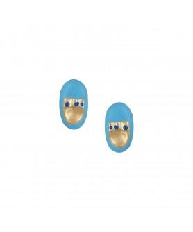 Χρυσά παιδικά σκουλαρίκια 14κ. με μπλέ παπουτσάκια. ΣΚ29.