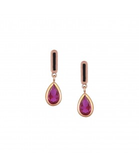 Ροζ χρυσά σκουλαρίκια 14κ. με ροζ σταγόνα. ΣΚ3.