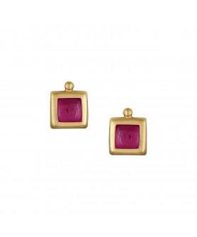 Χρυσά παιδικά σκουλαρίκια 14κ. με ροζ γέμισμα. ΣΚ31.