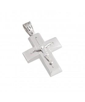 Λευκόχρυσος σταυρός 14κ.  ΣΤ21.