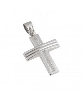Λευκόχρυσος σταυρός 14κ.  ΣΤ22.