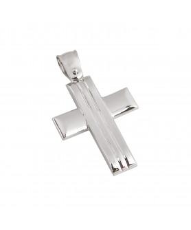 Λευκόχρυσος σταυρός 14κ.  ΣΤ23.
