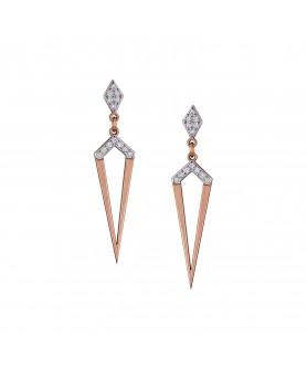 Ροζ χρυσά σκουλαρίκια 14κ. με ζιργκόν. ΣΚ5.