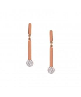 Ροζ χρυσά σκουλαρίκια 14κ. με ζιργκόν. ΣΚ8.