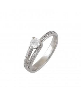 Λευκόχρυσο μονόπετρο δαχτυλίδι ζιργκόν 14κ. D18