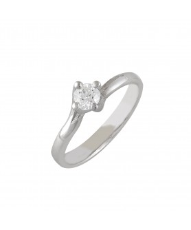 Λευκόχρυσο δαχτυλίδι μονόπετρο ζιργκόν 14κ. D20