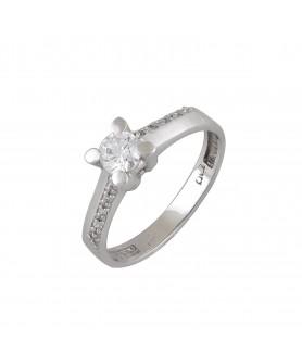Λευκόχρυσο δαχτυλίδι μονόπετρο ζιργκόν 14κ. D21