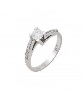 Λευκόχρυσο δαχτυλίδι μονόπετρο ζιργκόν 14κ. D41