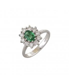 Λευκόχρυσο δαχτυλίδι σμαράγδι-μπριγιάν. D44